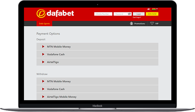 dafabet withdrawal methods